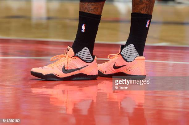 John Wall of the Washington Wizards wears Nike shoes during the game against the Cleveland Cavaliers at Verizon Center on February 6 2017 in...