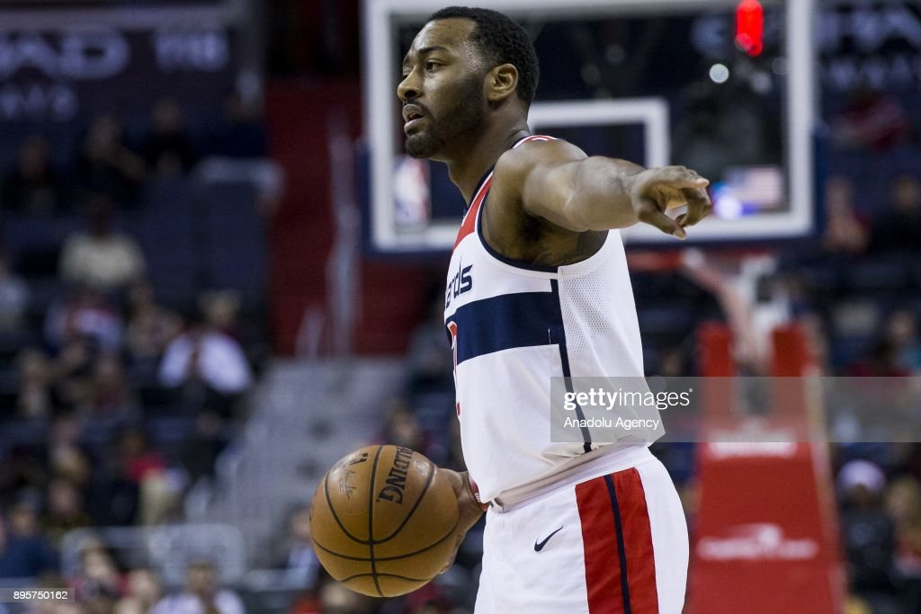 John Wall (2) of Washington Wizard in action during the NBA match between Washington Wizard and New Orleans Pelican at the Capital One Arena in Washington, USA on December 19, 2017.