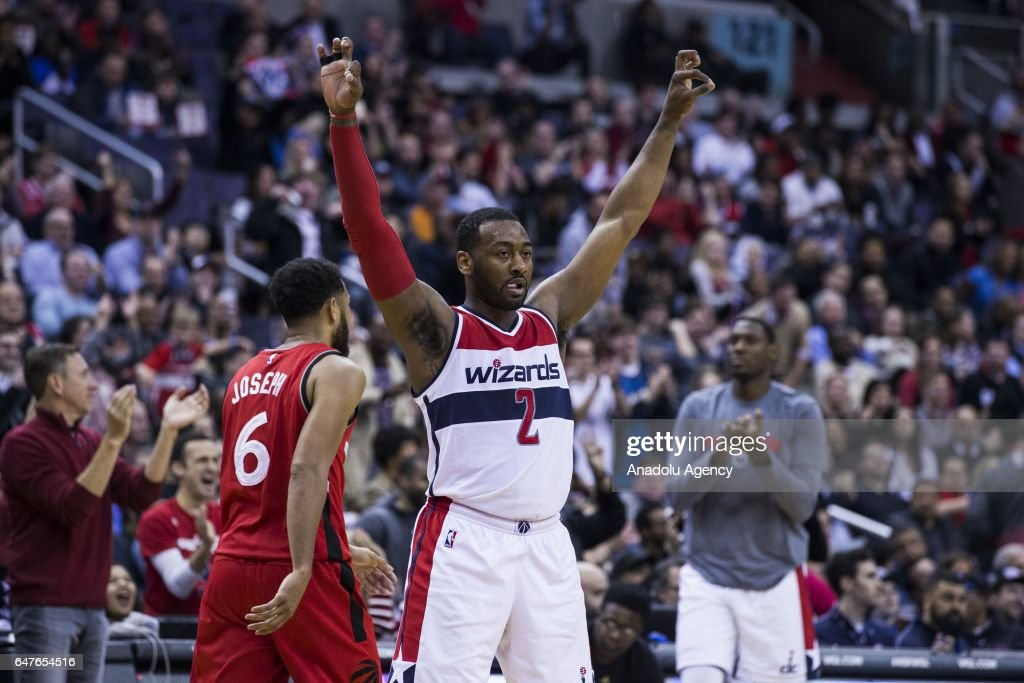 John Wall (2) of Washington Wizards celebrates during the NBA match between Washington Wizards and Toronto Raptors at the Verizon Center in Washington, United States on March 3, 2017.