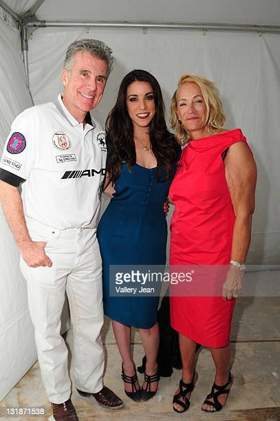 John Walsh Meghan Walsh and Reve Walsh backstage after Meghan Walsh Blank Silk fashion show at the AMG Miami Beach Polo Cup VII kick off on April 21...