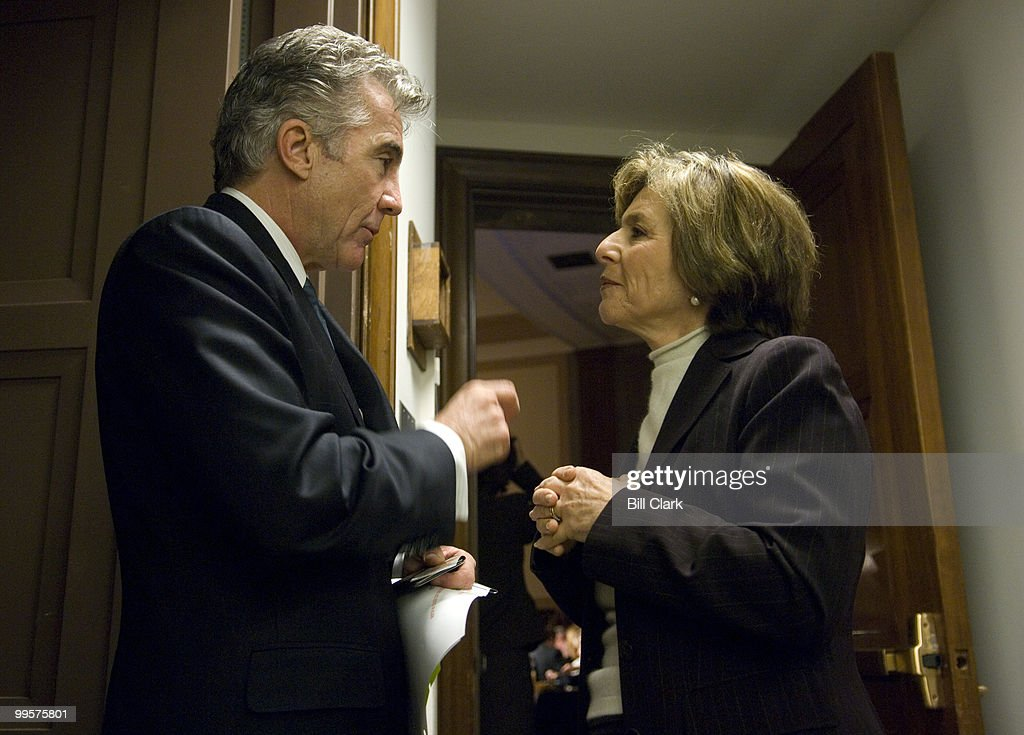 John Walsh, of 'America's Most Wanted,' speaks with Sen. Barbara Boxer, D-Calif., in a hallway leading to the National Center for Missing & Exploited Children 2007 Congressional Breakfast in in the Dirksen Senate Office Building Wednesday morning, May 9, 2007.