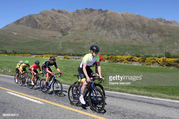 John Wanskin of Dunedin Adair Craik Accountants leads out front of the breakaway group heading towards Kingston during stage 3 of the 2017 Tour of...