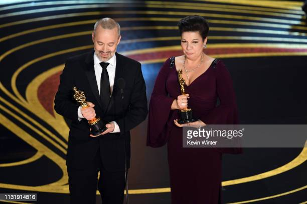 John Warhurst and Nina Hartstone accept the Sound Editing award for 'Bohemian Rhapsody' onstage during the 91st Annual Academy Awards at Dolby...