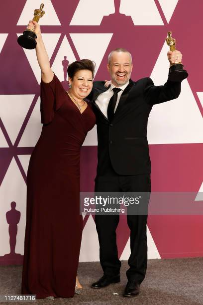 John Warhurst and Nina Hartstone pose in the press room at the 91st Annual Academy Awards at the Dolby Theatre in Hollywood California on February 24...