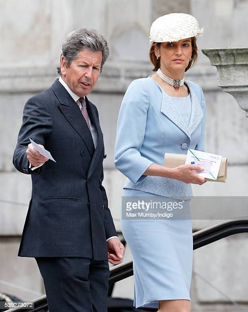 John Warren and Lady Carolyn Warren attend a national service of thanksgiving to mark Queen Elizabeth II's 90th birthday at St Paul's Cathedral on...