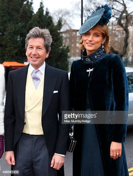John Warren and Lady Carolyn Warren attend the wedding of Jake Warren and Zoe Stewart in the Wren Chapel at the Royal Hospital Chelsea on December 14...