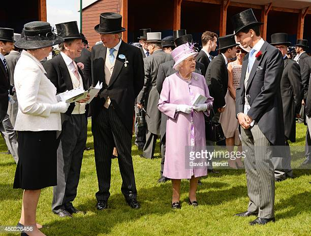 John Warren Anthony Cane Queen Elizabeth II and Crown Prince Pavlos of Greece attend Derby Day at the Investec Derby Festival at Epsom Downs...