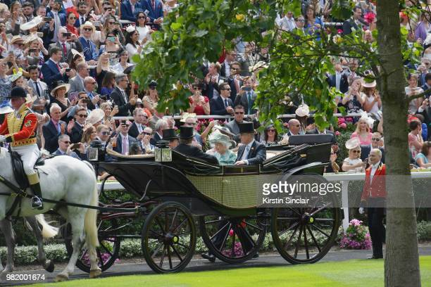 John Warren Lord Valentine Cecil Queen Elizabeth II and Prince Andrew Duke of York arrive in the Royal procession on day 5 of Royal Ascot at Ascot...