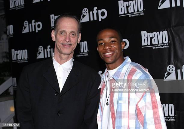 John Waters and Arlen Escarpeta during Bravo 2003 Independent Spirit Awards PreReception at Loews Santa Monica Beach Hotel in Santa Monica California...
