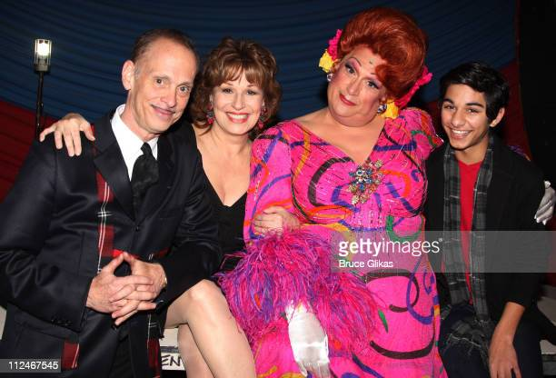 John Waters Joy Behar Harvey Fierstein as Edna Turnblad and Mark Indelicato backstage at Hairspray on Broadway at The Neil Simon Theater on November...