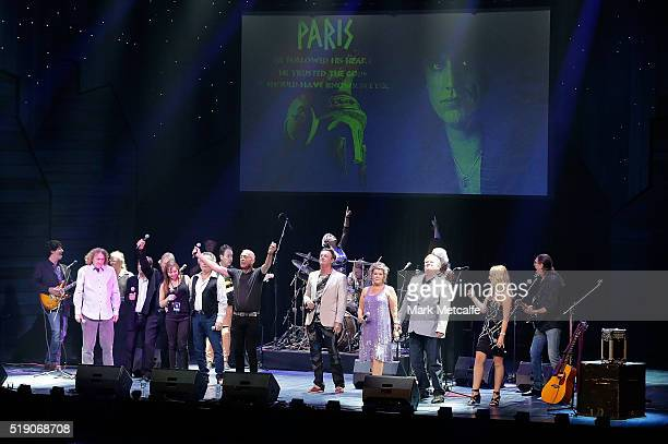John Waters leads an encore tribute during a public memorial service for Jon English at Capitol Theatre on April 4 2016 in Sydney Australia The...