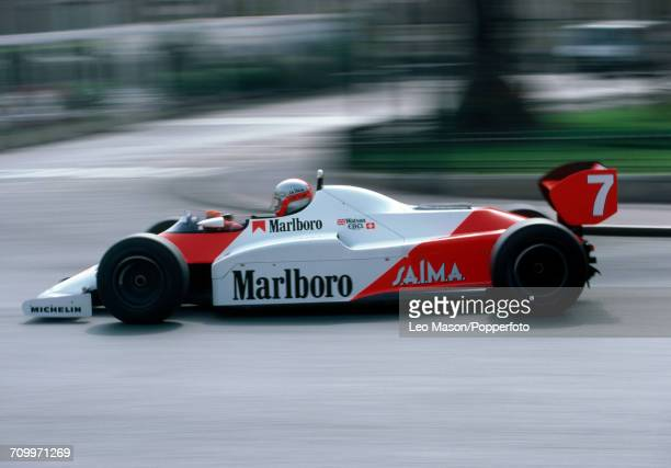 John Watson of Northern Ireland driving a McLaren MP4/1C with a Ford Cosworth DFY 30 V8 engine for Marlboro McLaren International during the Monaco...