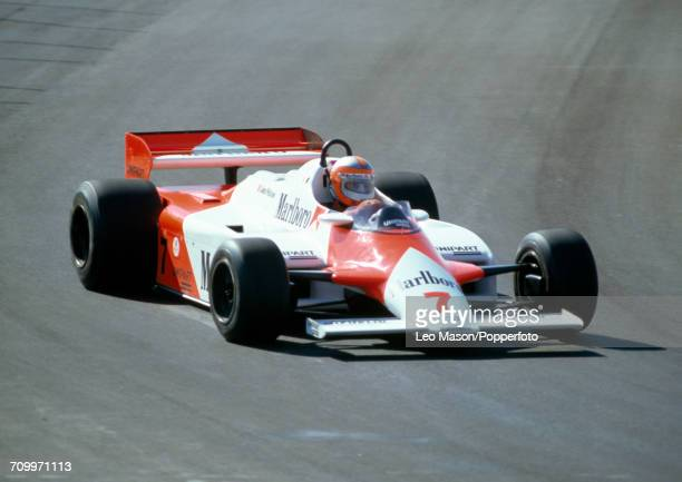 John Watson of Northern Ireland enroute to placing seventh, driving a McLaren MP4 with a Ford Cosworth DFV 3.0 V8 engine for Marlboro McLaren...