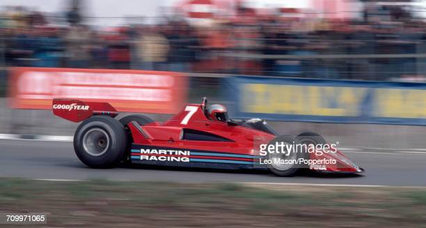 John Watson of Northern Ireland enroute to placing third, driving a Brabham BT45 with an Alfa Romero 115-12 3.0 F12 engine for Martini Racing, during...