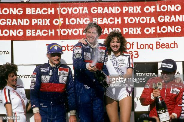 John Watson,Niki Lauda, Rene Arnoux, Grand Prix of the United States West, Grand Prix of Long Beach, 27 March 1983. John Watson celebrating his...