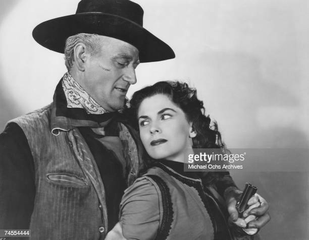 John Wayne and Joanne Dru on the set of Red River directed by John Ford circa 1948 in Los Angeles California