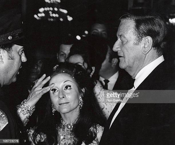 John Wayne And Pilar Wayne during 42nd Annual Academy Awards - Governor's Ball at Beverly Hilton Hotel in Beverly Hills, California, United States.