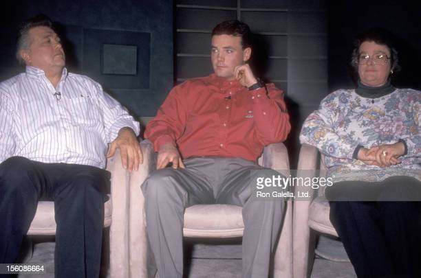 John Wayne Bobbitt and parents attend the Taping of 'The Montel Williams Show' on February 1 1994 at Times Square Studios in New York City