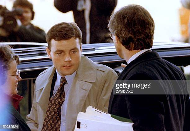 John Wayne Bobbitt arrives at the Prince William County Court House 10 January 1994 for the first day of his wife's trial on charges of malicious...