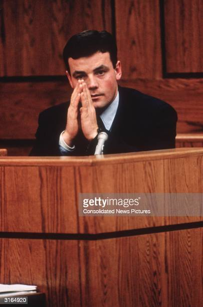 John Wayne Bobbitt testifying in court in Manassass Virginia against his estranged wife Lorena during her trial for cutting off his penis