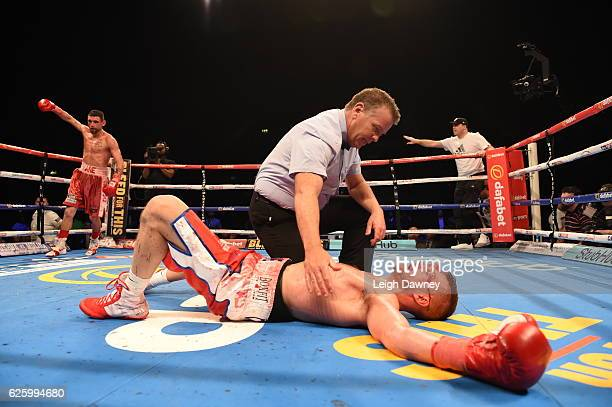 John Wayne Hibbert is knocked out by Martin Gethin doing the IBF International Super Lightweight Championship at Wembley Arena on November 26 2016 in...