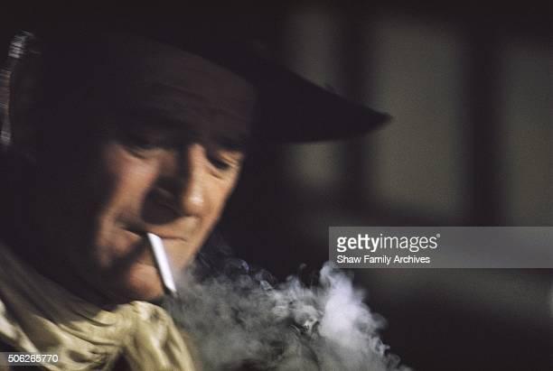 John Wayne in 1961 during the filming of 'Comancheros' in Los Angeles California