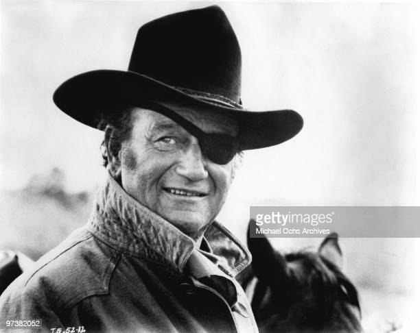 John Wayne in his Oscar winning performance as Rooster Cogburn in scene from the movie 'True Grit' directed by Henry Hathaway in 1969