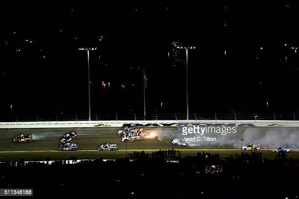 John Wes Townley driver of the Bad Boy Mowers Chevrolet Rico Abreu driver of the Safelite Auto Glass Toyota Cameron Hayley driver of the Cabinets by...