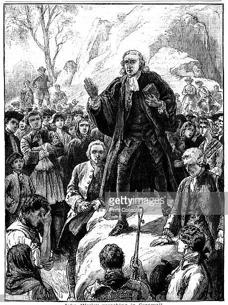 John Wesley 18th century English nonconformist preacher 1888 Wesley preaching in the open air in Cornwall He and his brother Charles were the...