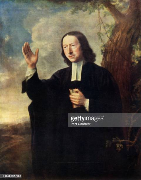 """John Wesley', circa 1766, . Portrait of John Wesley English cleric, theologian and evangelist by Nathaniel Hone . Oil on canvas. From """"Bibby's Annual..."""