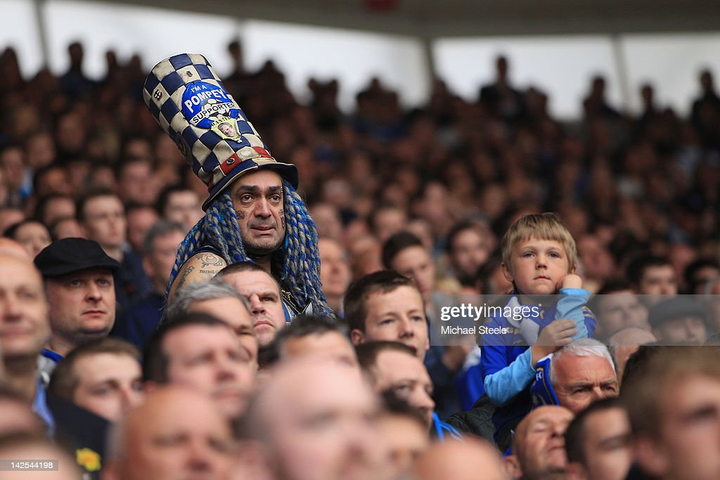 John Westwood (L) famous fan of Portsmouth looks on during the npower Championship match between Southampton and Portsmouth at St Mary's Stadium on April 7, 2012 in Southampton, England.