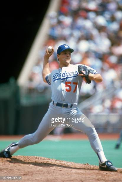 John Wetteland of the Los Angeles Dodgers pitches against the Philadelphia Phillies during an Major League Baseball game circa 1990 at Veterans...