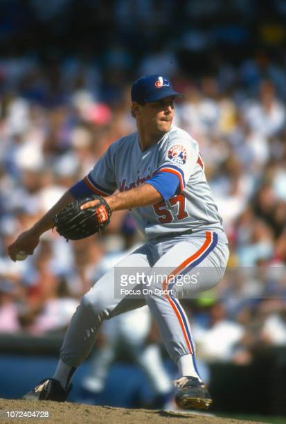 John Wetteland of the Montreal Expos pitches against the Chicago Cubs during an Major League Baseball game circa 1993 at Wrigley Field in Chicago...