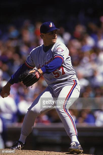 John Wetteland of the Montreal Expos pitches during a baseball game against the Chicago Cubs on May 1 1993 at Wrigley Field in Chicago Illinois