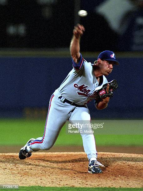 John Wetteland of the Montreal Expos pitching to the Atlanta Braves during a MLB game on July 25 1994 in Atlanta Georgia