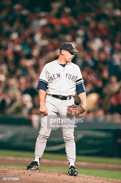 John Wetteland of the New York Yankees during Game Three of the American League Championship Series against the Baltimore Orioles on October 11 1996...