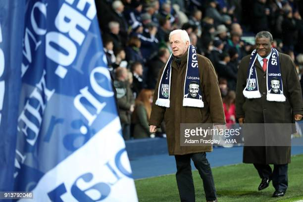 John While and Bob Hazel for Cyrille Regis tribute prior to the Premier League match between West Bromwich Albion and Southampton at The Hawthorns on...