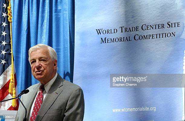 John Whitehead Chairman of the Lower Manhattan Development Corporation speaks about the international competition for the design of a memorial at the...