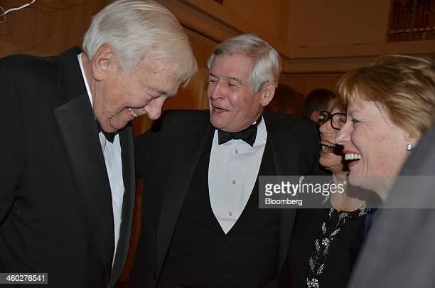 John Whitehead former chairman of Goldman Sachs Group Inc and former chairman of the Asia Society from left Robert N Downey a former partner at...