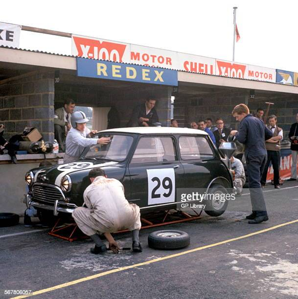 John Whitmore Bill Blydenstein's Mini Cooper finished 9th overall and 3rd in class in 'Motor' Six Hours race at Brands Hatch England 6th October 1962