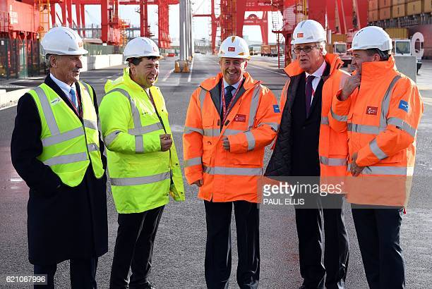 John Whittaker Peel Group Chairman Mark Whitworth Chief executive of Peel Ports talk with British International trade minister Liam Fox Tom Allison...
