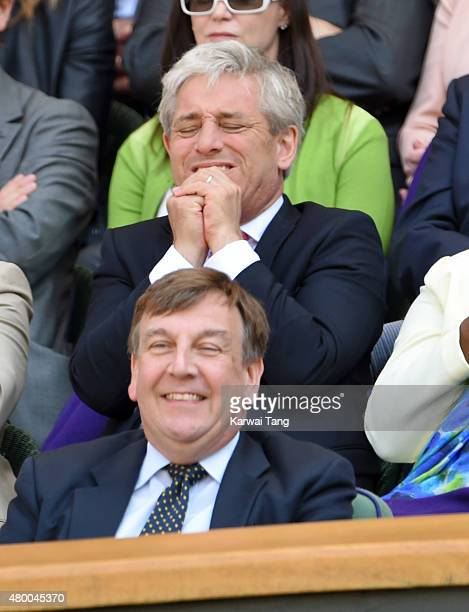 John Whittingdale and John Bercow attend day ten of the Wimbledon Tennis Championships at Wimbledon on July 9 2015 in London England