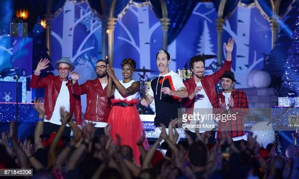 John Wicks Jeremy Ruzumna Noelle Scaggs Michael Fitzpatrick Joseph Karnes and James King of the Fitz and the Tantrums perform during the taping of...