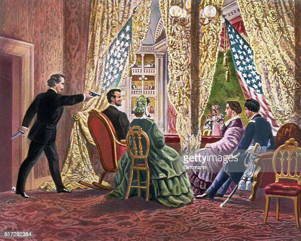 John Wilkes Booth leans forward to shoot President Abraham Lincoln as he watches a play at Ford's Theater in Washington DC in 1865