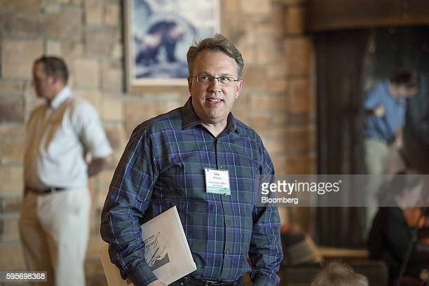 John Williams president and chief executive officer of the Federal Reserve Bank of San Francisco arrives for a welcome dinner during the Jackson Hole...