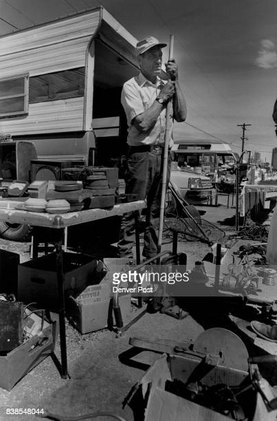 John Williams stand watch over his items for sale John comes down early for the early bird rate at the market if he get in by 6 am he gets a few...