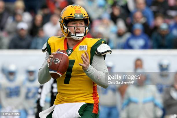 John Wolford of Arizona Hotshots looks to pass against the Salt Lake Stallions during their Alliance of American Football game at Rice Eccles Stadium...