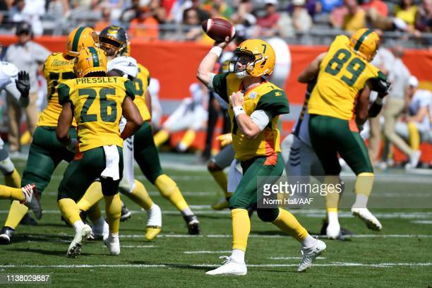 John Wolford of the Arizona Hotshots attempts a pass against the San Diego Fleet during the first half of the Alliance of American Football game at...