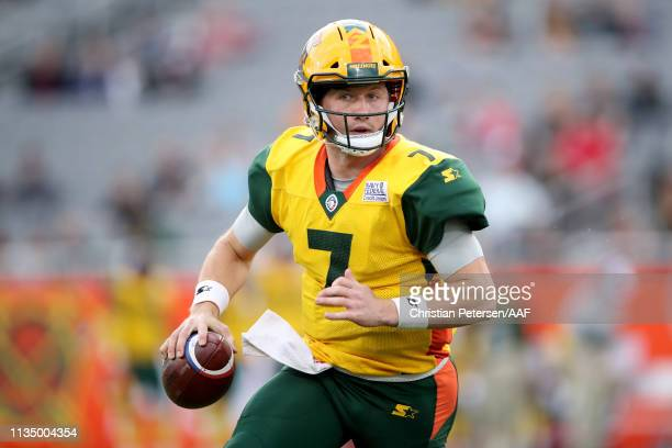 John Wolford of the Arizona Hotshots drops back to pass in the second quarter against the San Antonio Commanders during the Alliance of American...