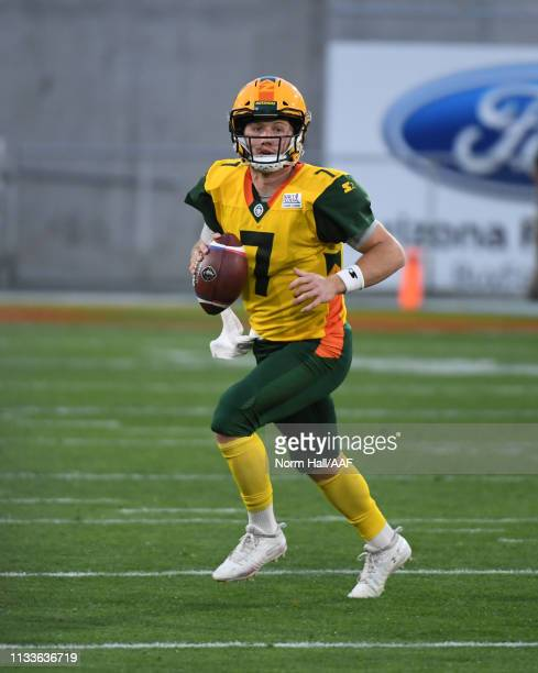 John Wolford of the Arizona Hotshots looks to throw the ball against the Atlanta Legends during an Alliance of American Football game at Sun Devil...